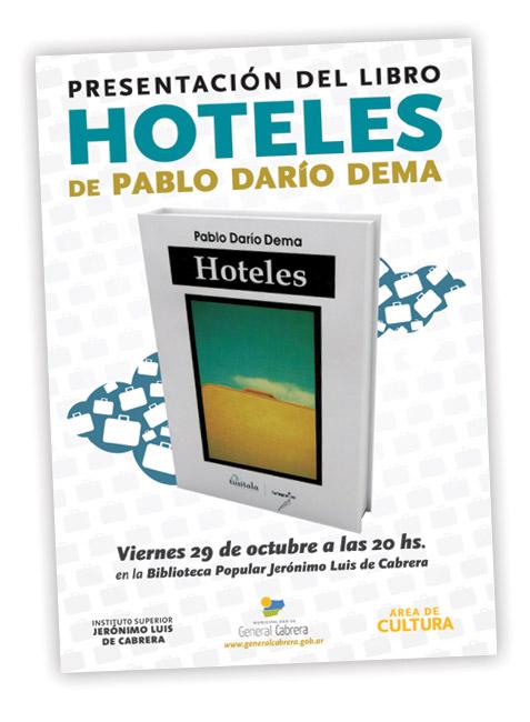 Folleto presentación libro Hoteles de Pablo Dema